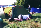 It's hot, my friend Marius is relaxing by the tent :-)