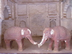 02510 Orchha: Elephant (Ganesh) sculptures inside of Raj Mahal & Assembly Hall at Orchha Fort