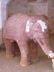 02511 Orchha: Elephant (Ganesh) sculpture inside of Raj Mahal & Assembly Hall at Orchha Fort